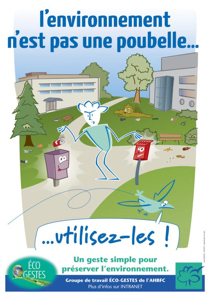 AHFC affiche éco-geste A3 - POUBELLE CENDRIER