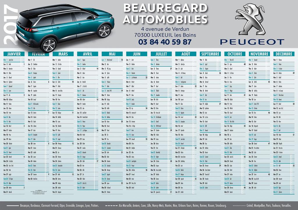 Beauregard Autos calendrier 2017 A3