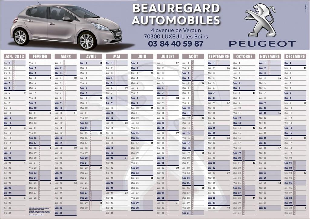 Beauregard Automobiles calendrier 1