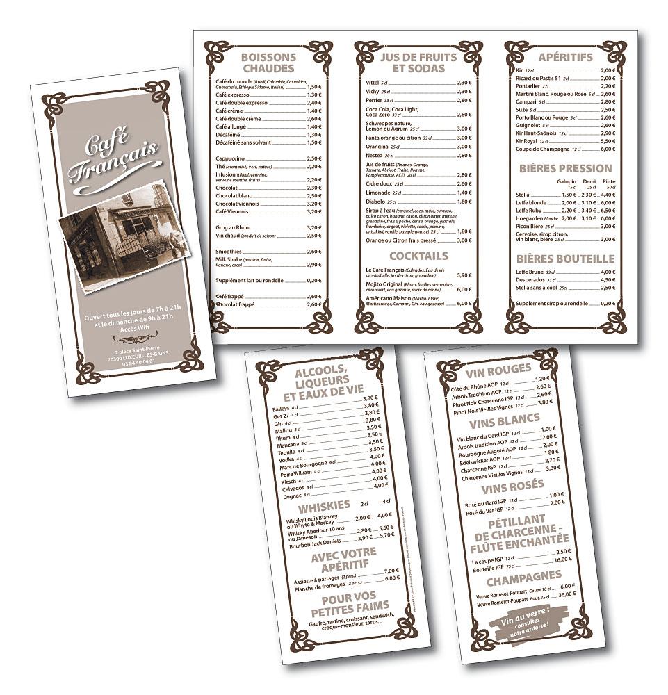 Cafe Francais menu A3 en 3 volets