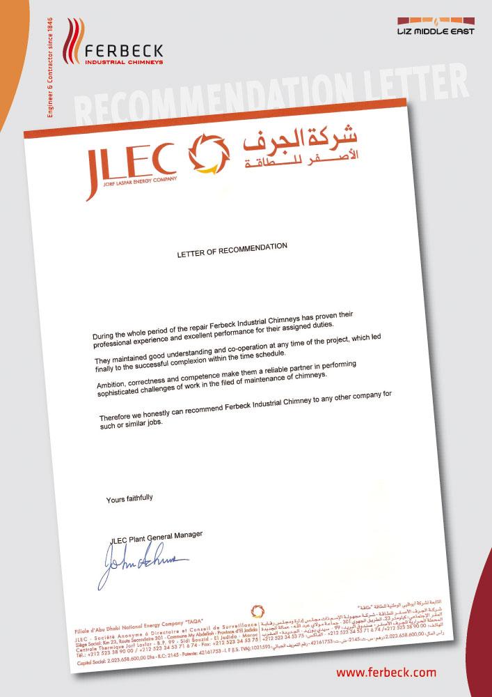 Ferbeck recommendation letter JLEC